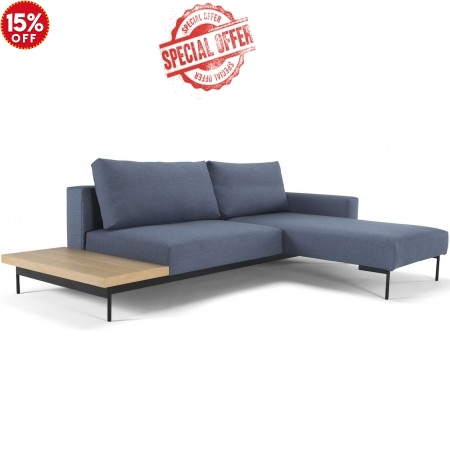 Bragi Chaise Sofa Bed With Side Table