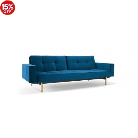 SPLITBACK SOFA BED FABRIC ARMS Brass Baton Legs
