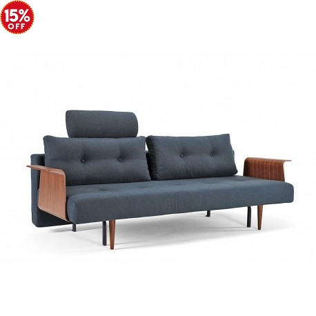 RECAST SOFA BED WITH WALNUT ARMS